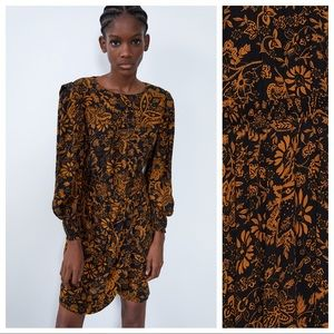 NWT. Zara Floral Print Mini Dress. Size S.